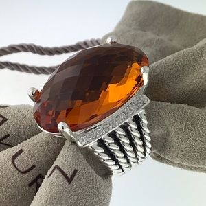 David Yurman Oval 26x16mm Citrine Diamond Ring